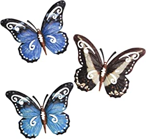 MIXUN 3D Metal Butterfly Wall Decor Outdoor, Colorful Garden Wall Sculptures Indoor or Outdoor Home Decorations