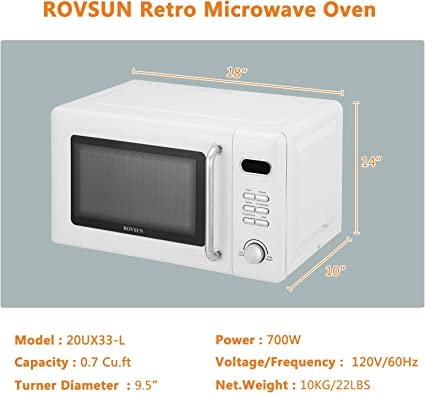 ROVSUN 0.9 Cu.ft Retro Countertop Microwave Oven Blue ETL Certificated 900W with Glass Turntable Viewing Window 5 Micro Power Child Lock Auto Cooking /& Delayed Start Function