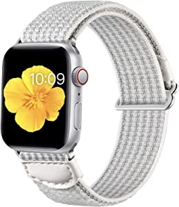 Easuny Sport Bands Compatible for Apple Watch Series 6 40mm Series 5 4 iWatch SE, iwatch 38mm Womens, Breathable Soft Weave Loop Nylon Strap for Apple Watch 38mm Series 3/2/1 Men,White gray