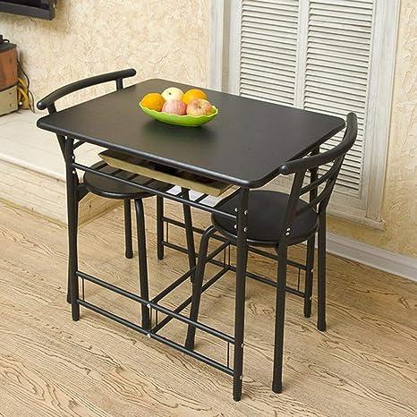 QKL Mesas y sillas Plegables Mesa para Dos 1 Mesa y 2 sillas ...