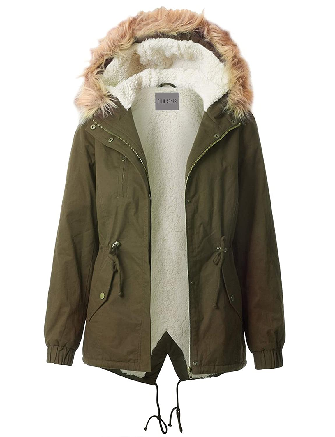 OLLIE ARNES Womens Quilted or Inner Fur Lined Sherpa Anorak Down Parka Jacket