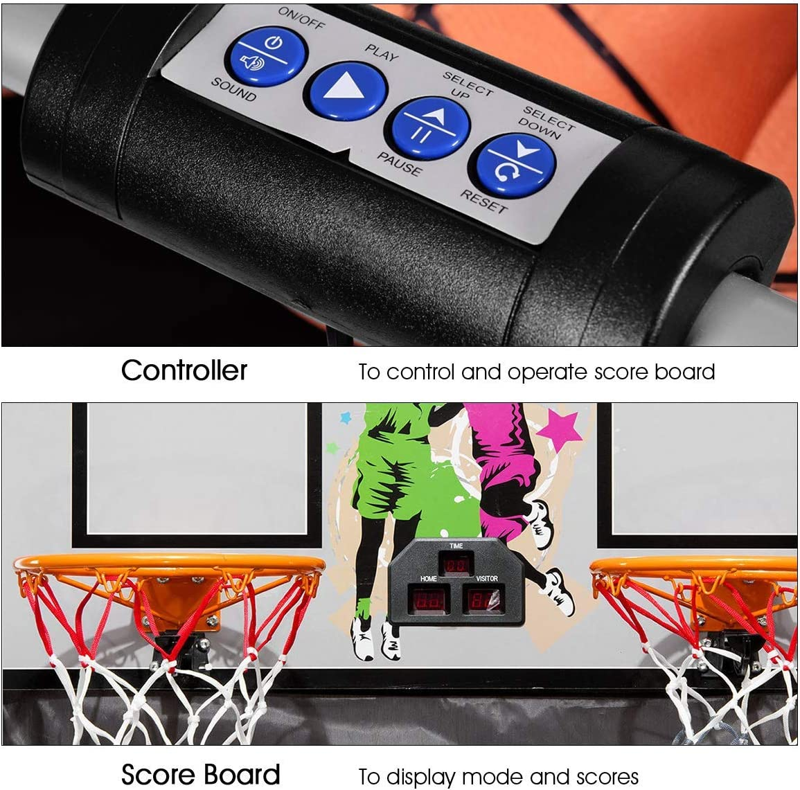 ReunionG Electronic Basketball Game Indoor Basketball Arcade Game Double Shot 2 Players with 2 Rims 4 Balls