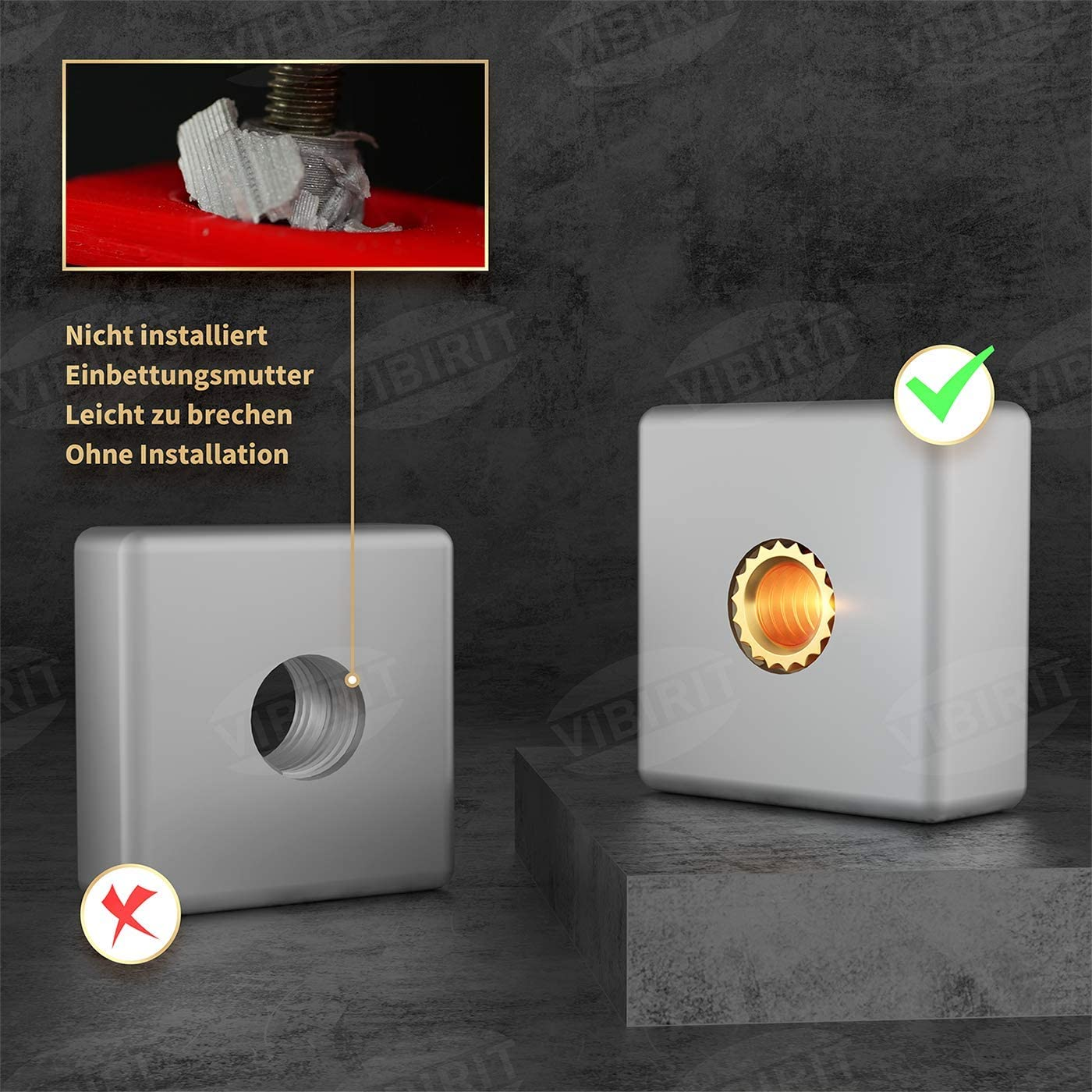 rosca interior VIBIRIT 100 piezas roscadas M3 rosca de rosca de lat/ón por calor o ultrasonidos en piezas de impresora 3D M3