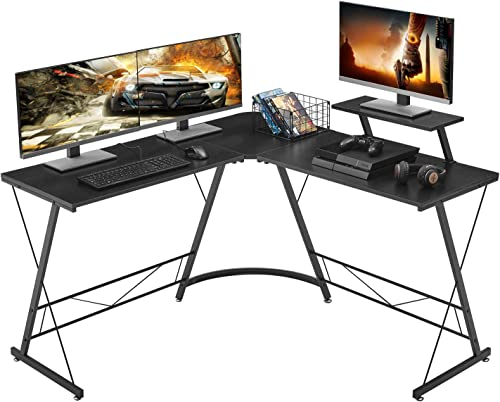 Mr IRONSTONE L-Shaped Desk 50.8 Computer Corner Desk, Home Gaming Desk, Office Writing Workstation with Large Monitor Stand, Space-Saving, Easy to Assemble, Black