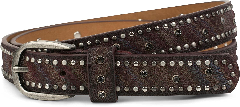 styleBREAKER cinturón fino de remaches con estrás y rayas, cinturón vintage, reducible, señora 03010083