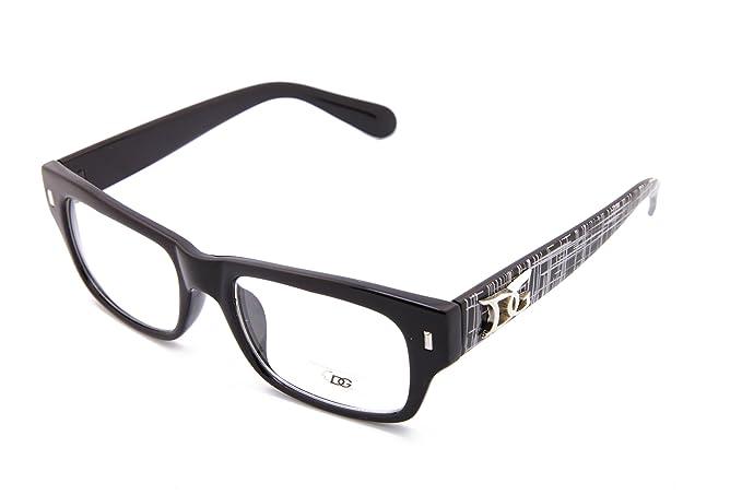 Amazon.com: Black Men Rectangular clear lens fashion glasses ...