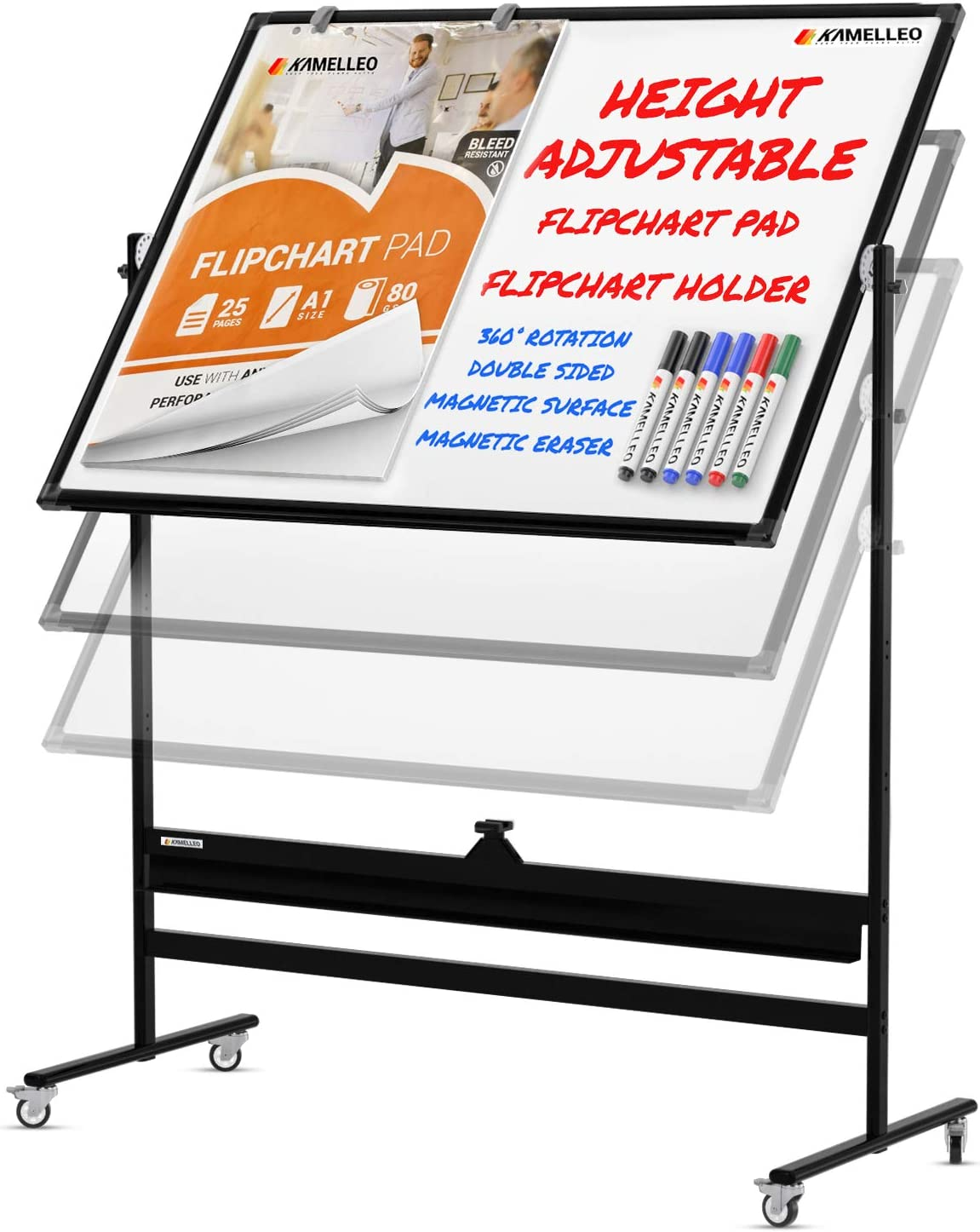 Mobile Whiteboard - 46x32 Large Height Adjust 360° Rolling Double Sided Dry Erase Board, Magnetic White Board on Wheels, Office Classroom Portable Easel with Stand, Flip Chart Holders and Pad | Black