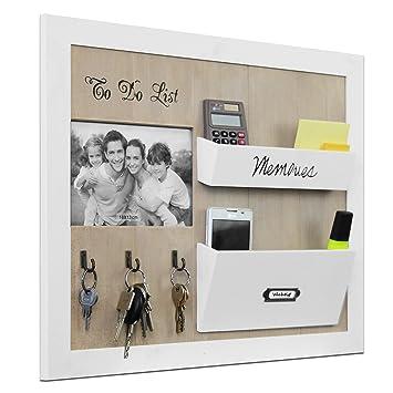 wandorganizer edler memoboard mit fotorahmen schla 1 4 sselbrett und facher 39x47x5cm holz memotafel wand organizer tafel