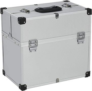 vidaXL – Maletín de herramientas de aluminio, maletín de transporte, caja de aluminio, maletín universal, maletín de aluminio 43,5 x 22,5 x 34 cm, plateado: Amazon.es: Bricolaje y herramientas