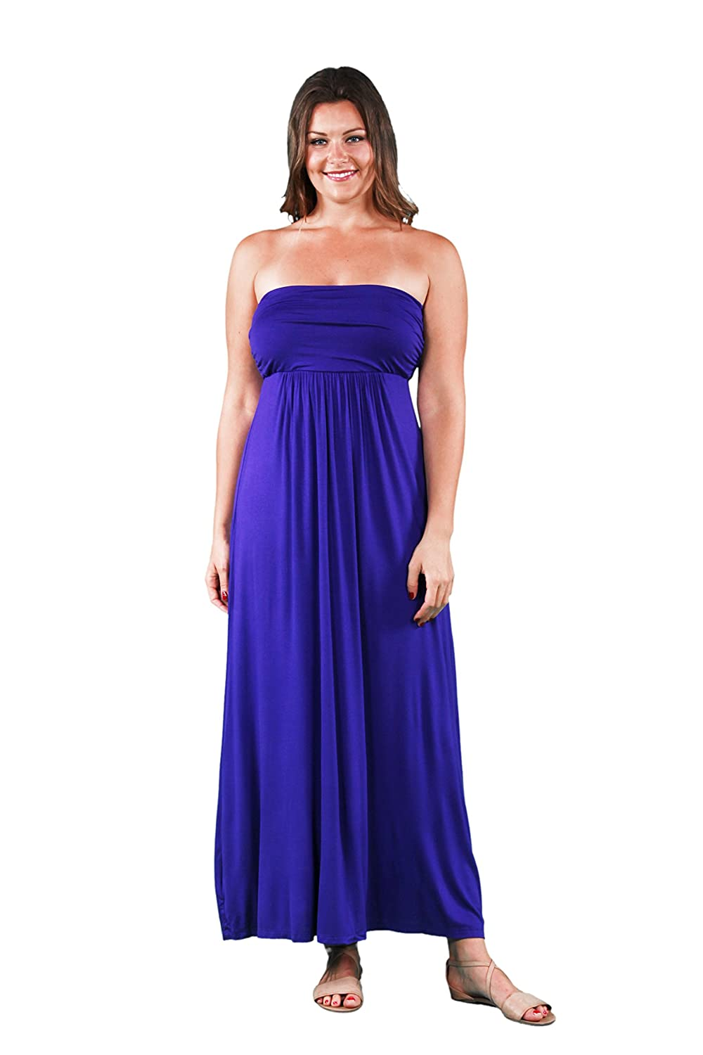 a52dffc1e9a Top1  24 7 Comfort Apparel Plus Size Dresses Strapless Maxi Tube Dress For  Womens -  Made in USA