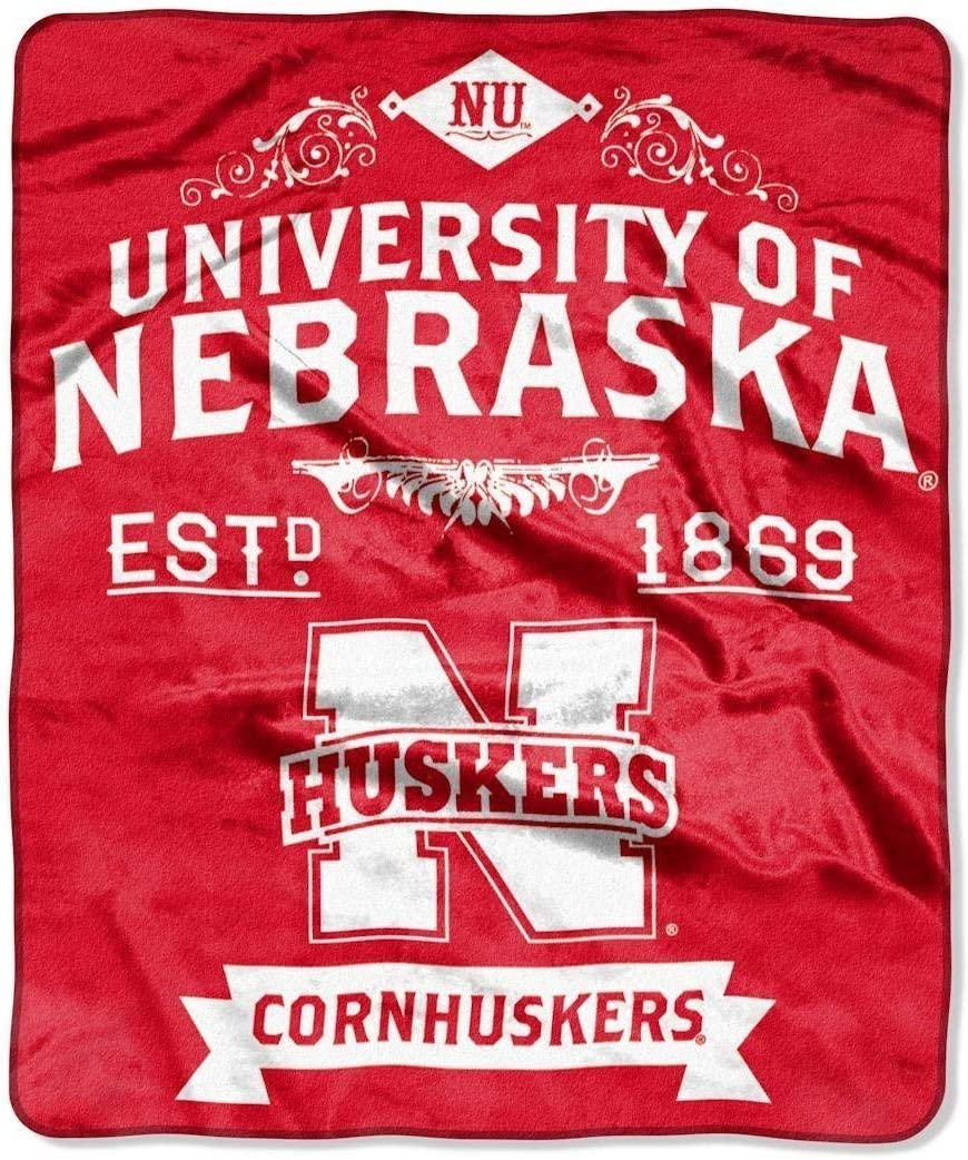 Officially Licensed NCAA Label Plush Raschel Throw Blanket Multi Color 50 x 60