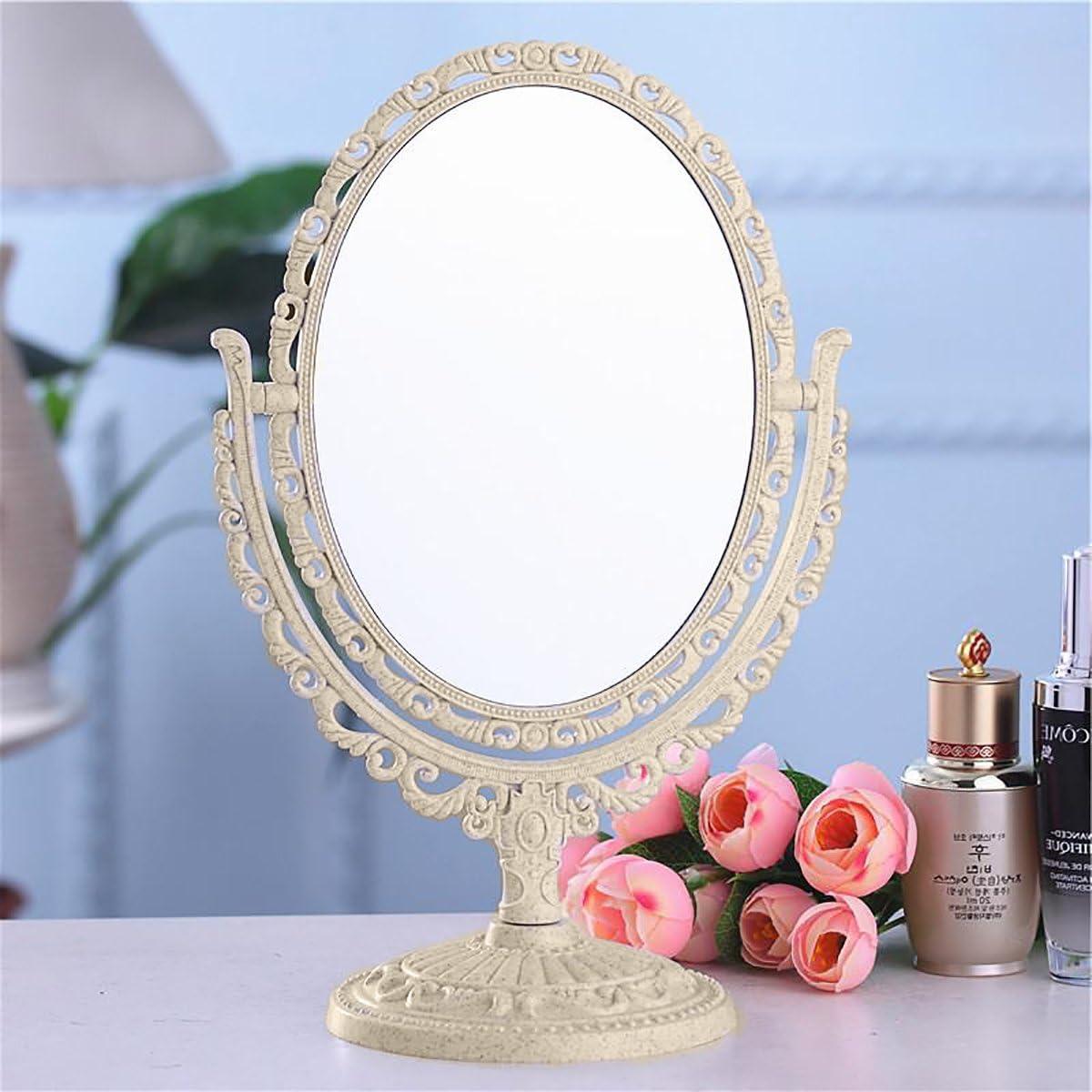Qivange Vanity trucco specchio doppio lato tavolo specchio da bagno su base di supporto ovale