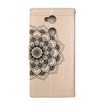 Sony Xperia XA2 Case #2 Rose Gold Bear Village Leather Wallet Cover Anti-Scratch Embossing PU Case with Magnetic Closure and Card Slots for Sony Xperia XA2