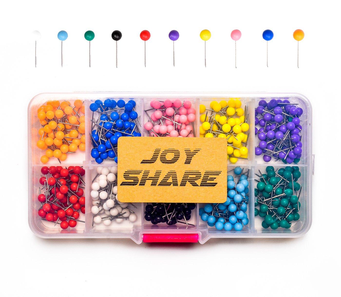 Joyshare 500 Pezzi Puntine da Disegno Chiodini Testa in Plastica con Punta in Acciaio, 1/ 8 Pollici Map Tacks 500