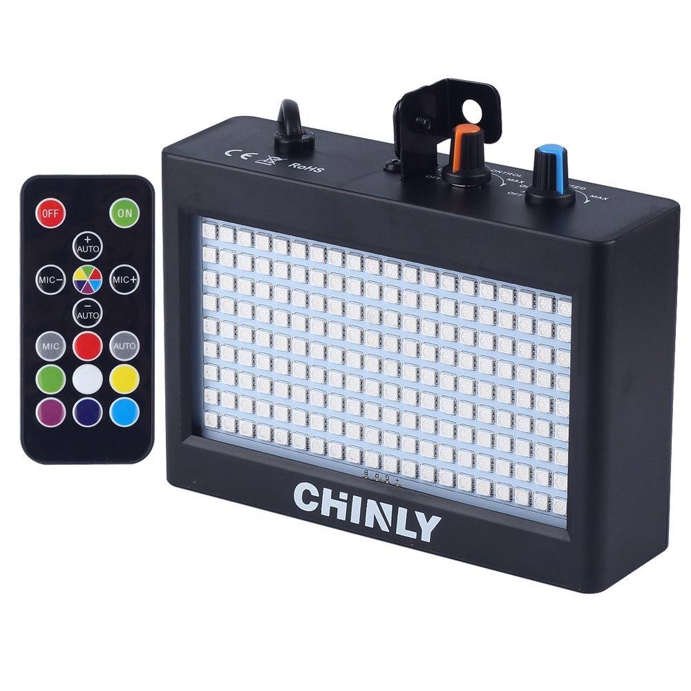 CHINLY LED Strobe Light Stage Lighting Portatile 35W 180leds RGB Telecomando Controllo del suono Funzionamento automatico Strobe Speed regolabile per Disco Bar Wedding Party KTV Concert