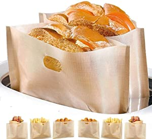 Toaster Bags BYBYCD Non Stick Reusable Toaster Bag, Heat Resistant Microwave Oven Toaster Sandwich Bags for Grilled Cheese Pizza Slices Chicken Nuggets Fish Vegetables Panini Toast (10 Pcs)