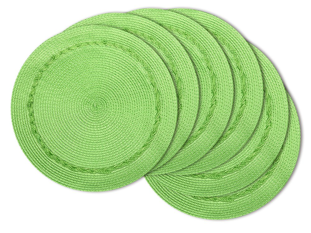 U'Artlines Indoor & Outdoor Round Woven Placemat, Set of 6 Perfect for Fall, Dinner Parties, BBQs, Christmas Parties and Everyday Use (15 Inch, Green)
