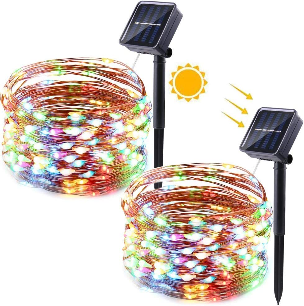 Solar Christmas Lights, 2 Packs 33ft 100 LED Solar String Lights Outdoor, Waterproof Copper Wire 8 Modes Solar Powered Christmas String Lights for Xmas Tree, Garden, Party, Patio, Wedding(Multicolor)