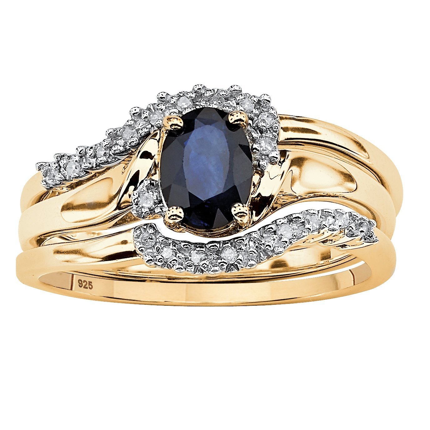 Genuine Midnight Blue Sapphire 18k Gold over .925 Sterling Silver 3-Piece Bypass Bridal Ring Set