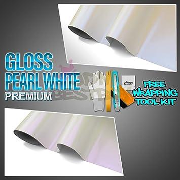 "*12/""x60/"" GLOSS WHITE GLOSSY Bubble Free Vinyl Wrap Sticker Decal Sheet Film"