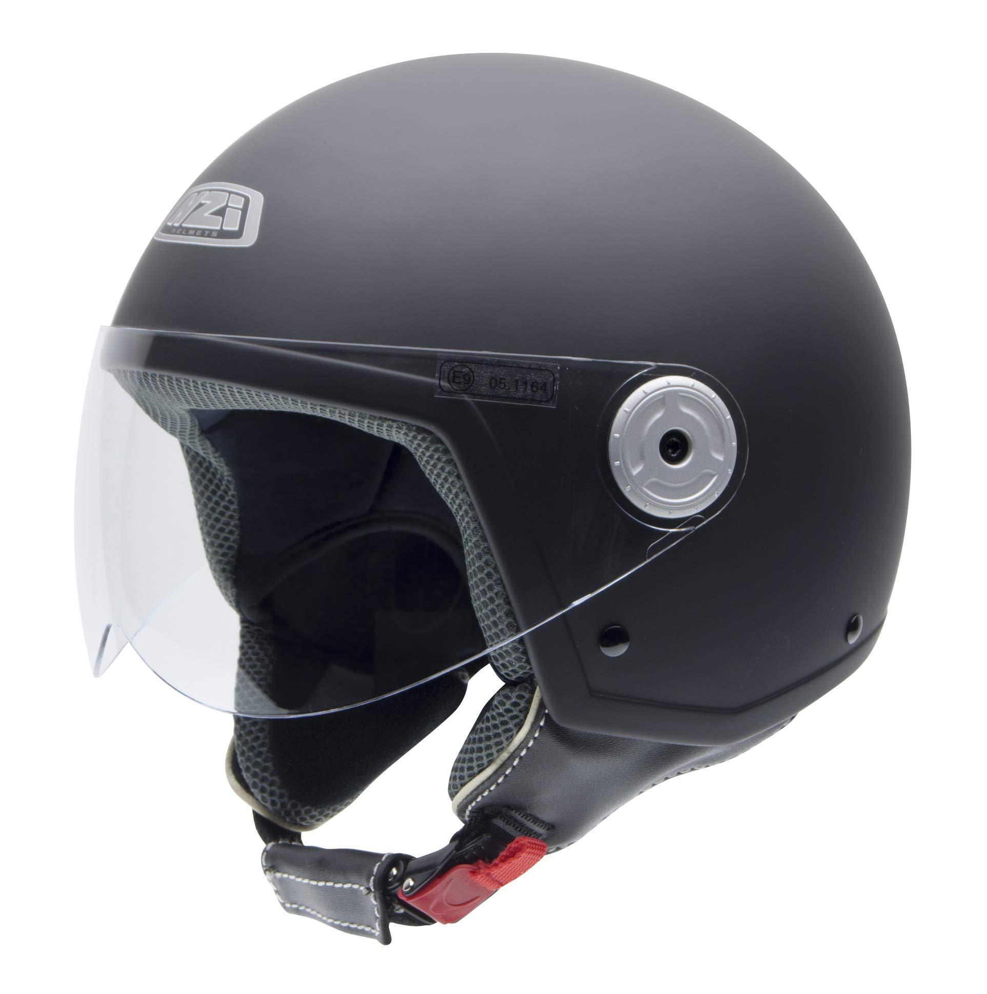 NZI Vintage II Casco de Moto, Negro(Negro Suave), 57 (M
