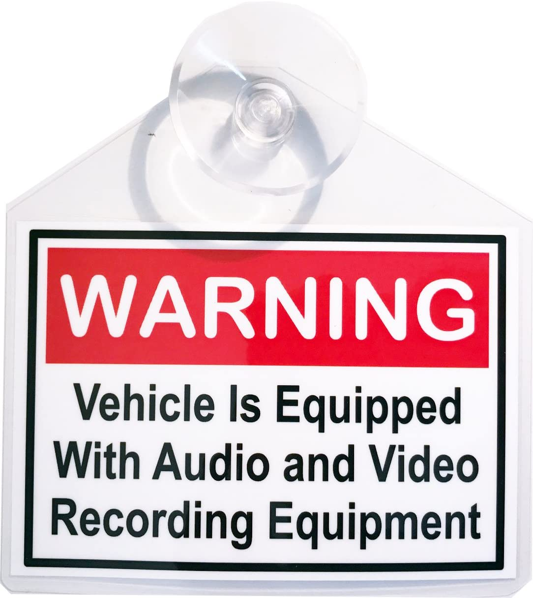Warning Video /& Audio Recording display decal placard Uber with suction cup