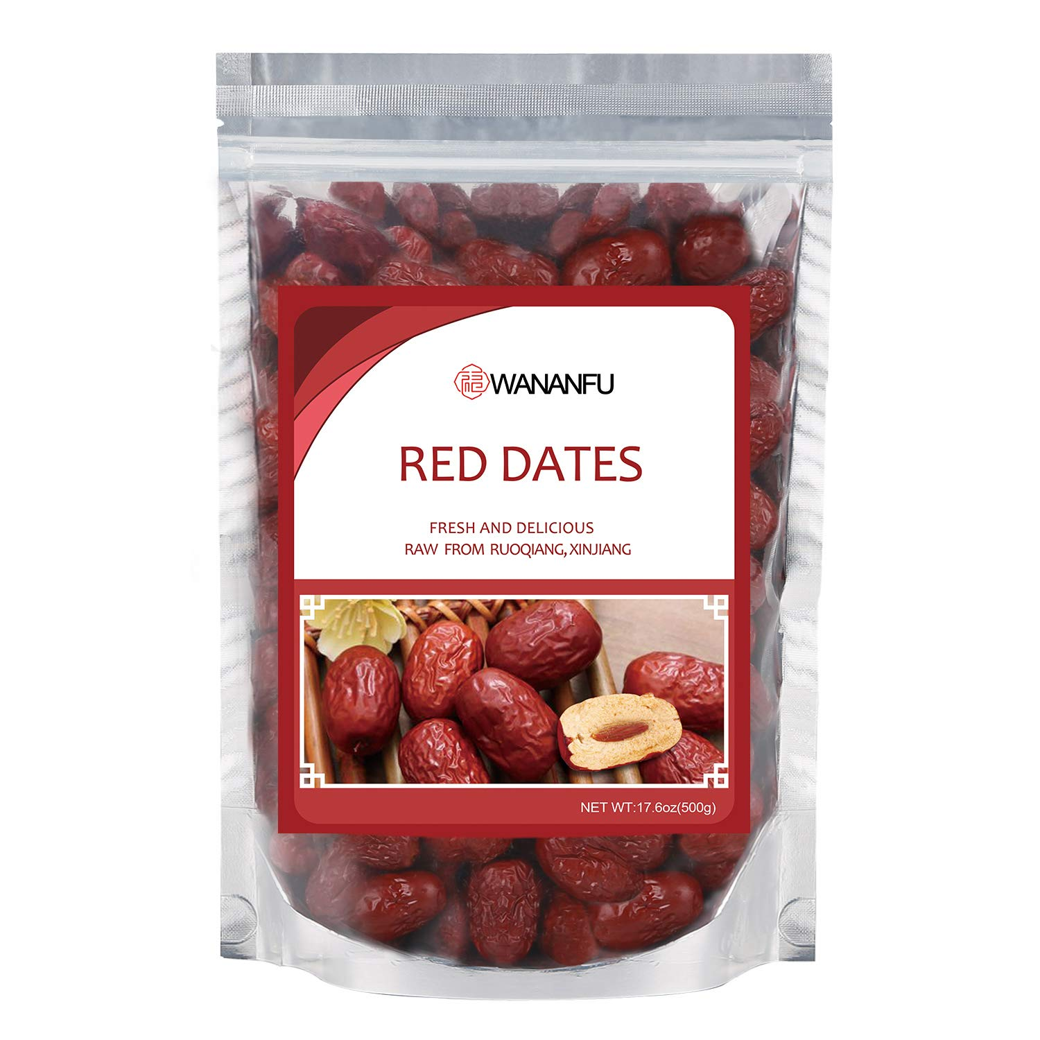 Ruoqiang Big Dried Red Dates From Ogigin Place Since Tang Dynasty Natual Dried CHINESE DATES No Sugar Added- Superfoods Dried JUJUBE DATES 17.6 Ounces Bag