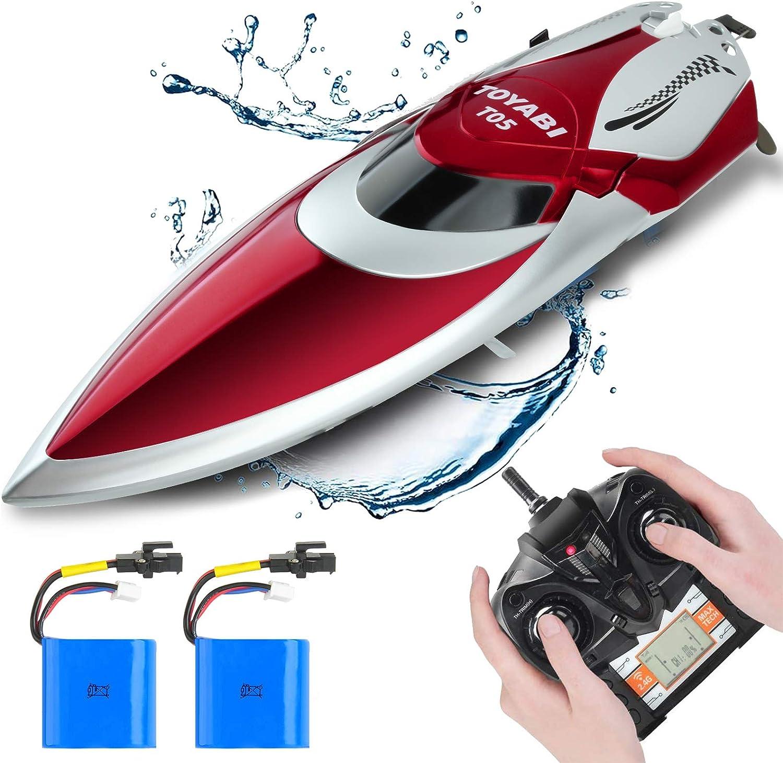 GizmoVine Barco Teledirigido, Barco RC de Alta Velocidad, Barcos de Carreras de 25 Km / H 2,4 GHz con 2 BateríAs Recargables Alarma de BateríA Baja, RecuperacióN de Vuelco para NiñOs, NiñAs y Adultos