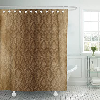 Amazoncom Emvency Shower Curtain Brown Wall Vintage Damask Gray