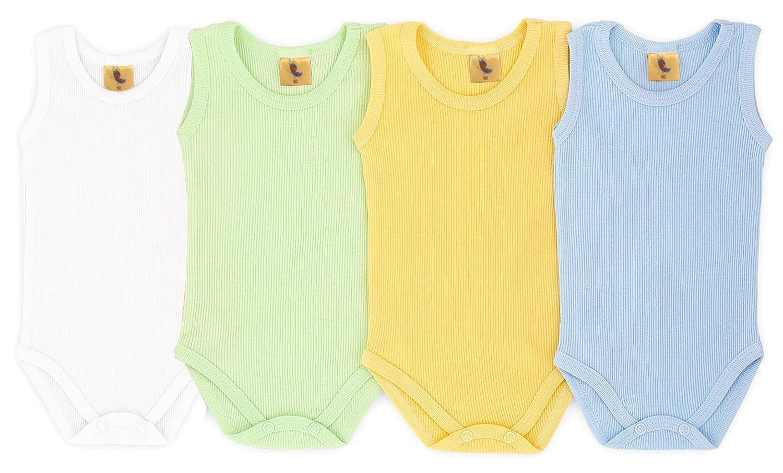Set /ärmellos Baby Body Feinripp Bunt Gr/ö/ße 56-104 4-TLG