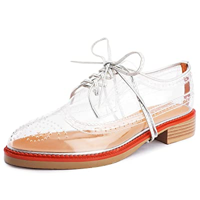 Aiminila Women's Lace-up Oxfords Fashion Perforated Wingtip Flat Transparent Brogue Shoes | Oxfords