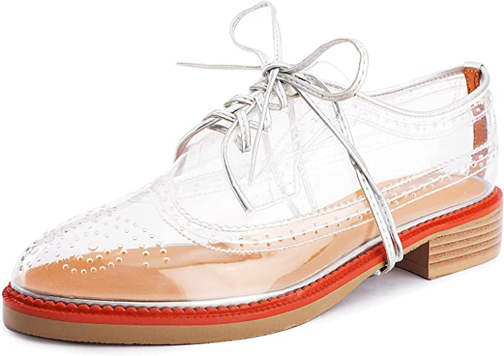 Aiminila Women's Lace up Oxfords Fashion Perforated Wingtip Flat Transparent Brogue Shoes