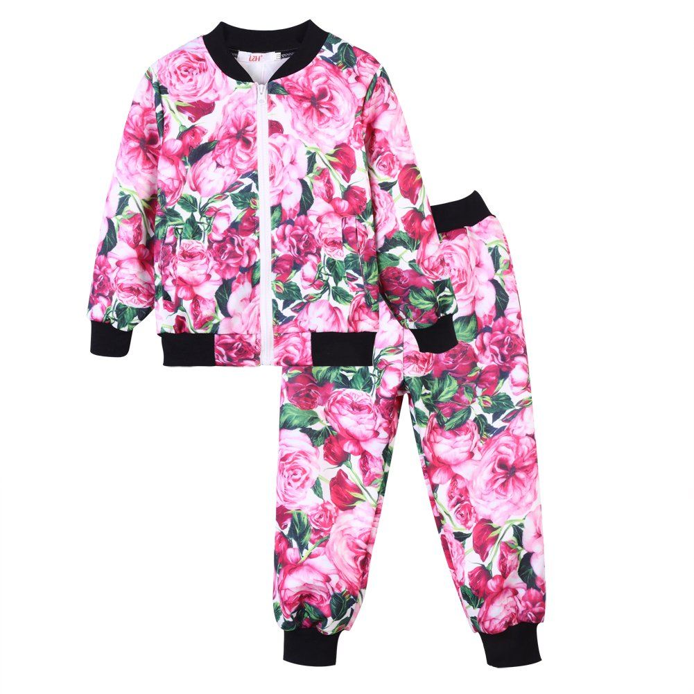 LZH Toddler Girls Clothes Tracksuit Floral Print Outfits Coat Pants Suit S303-S16