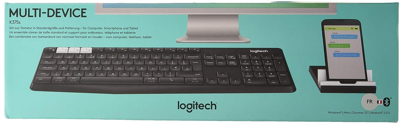Logitech K375s Kabelloser Tastatur und Halterung Multi Device Deutsches Layout