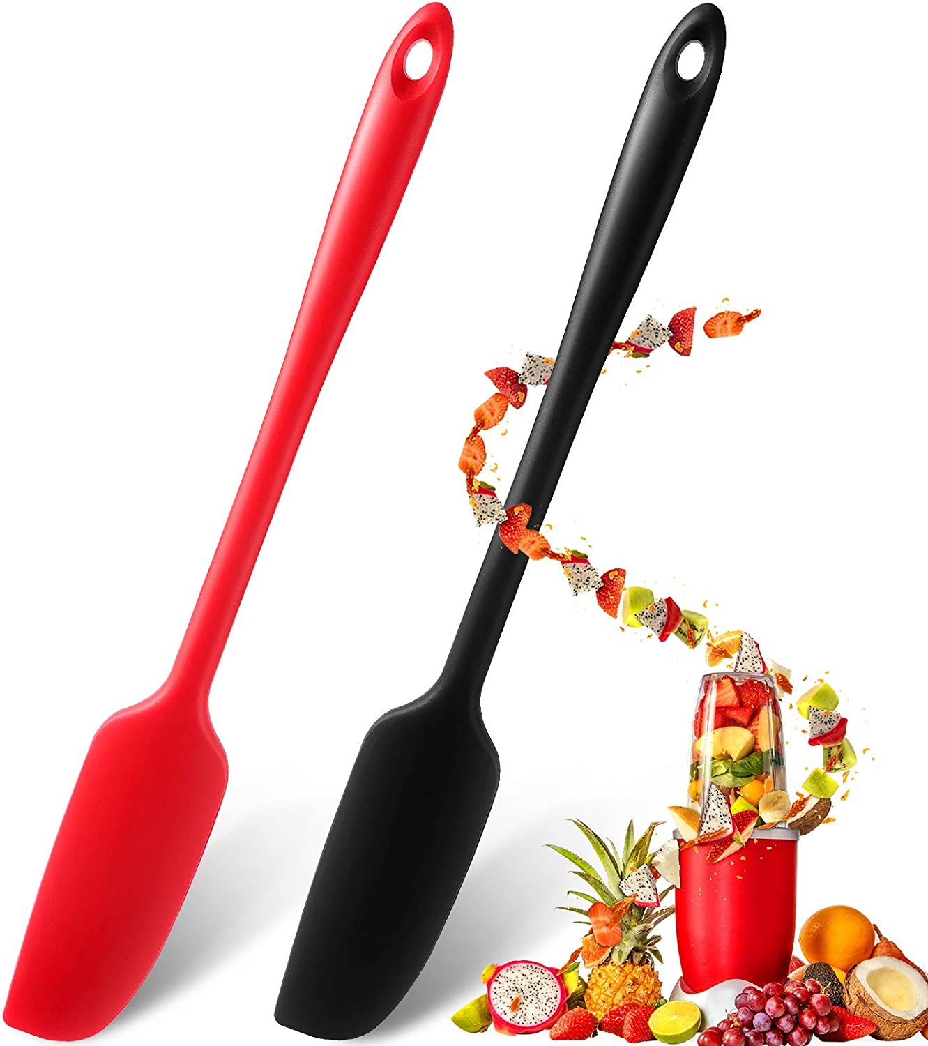 2 Pieces Long Handle Silicone Jar Spatula Non-Stick Rubber Scraper Heat Resistant Spatula Silicone Scraper for Jars, Smoothies, Blenders Cooking Baking Stirring Mixing Tools