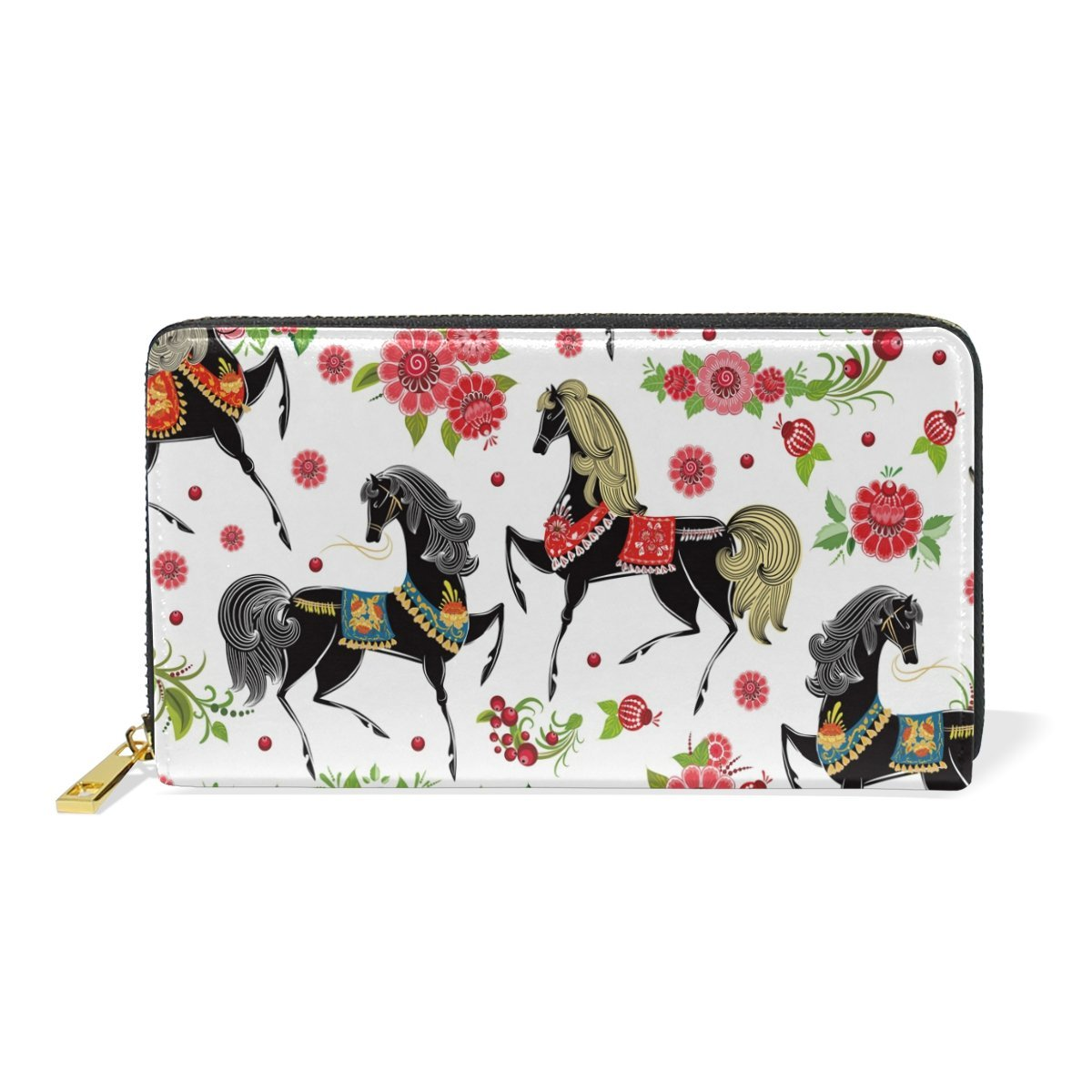 Women Genuine Leather Wallet Red Horse Floral Zipper Purse Girl Phone Clutch