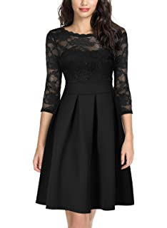 ebd6703b3771 Miusol Women's Vintage Floral Lace 2/3 Sleeve Bridesmaid Party Dress