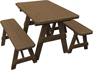 product image for Pressure Treated Pine 4 Foot Picnic Table with Detached Benches -Mushroom Stain