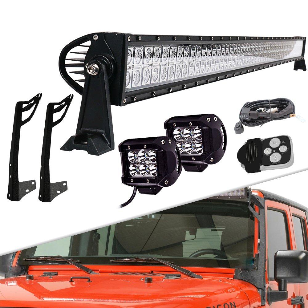 Led Lights Jeep Wrangler Lighting Wiring Ausi Jk 52 Inch 300w Light Bar Dual Row Spot Flood Combo