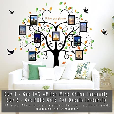 Amazon.com: Family Tree Wall Decal With Picture Frames - Tree ...