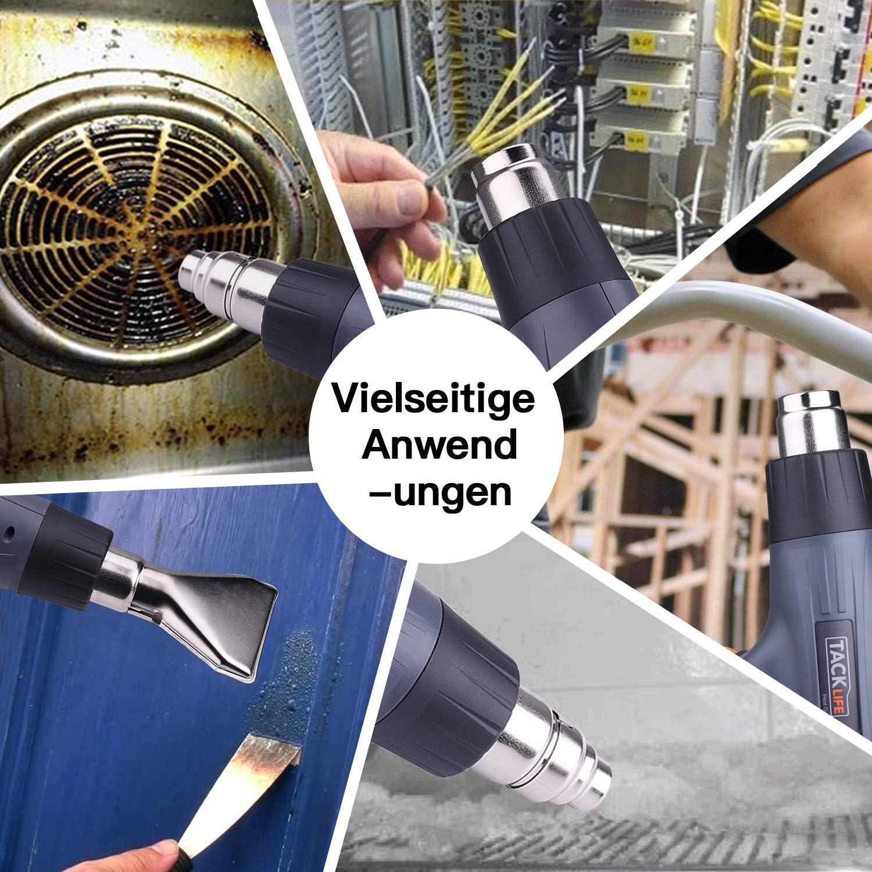 Tacklife HGP69AC 2 temperature e flusso daria 400 /°C e 600 /°C 230 V 2000 W Pistola ad aria calda 50 Hz con 4 ugelli e protezione da surriscaldamento