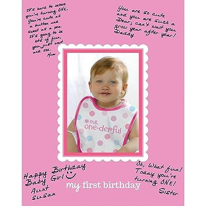 Amazon.com: Amscan 1st Birthday Girl Autograph Photo Matte Party ...