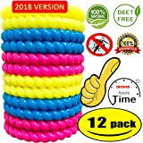 12 Pack Mosquito Repellent Bracelet ,100% All Natural Plant Based Oil, Non Toxic Travel Insect Repellent, Safe Deet-Free Band - Kids, Adults  New Version