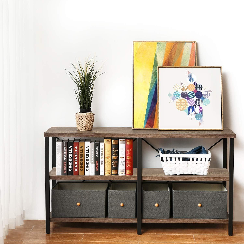 TV Console Dark Gray Oak Sofa Table with Storage Shelf 55 Inch Entryway Table Industrial Hallway Table KICODE Console Table