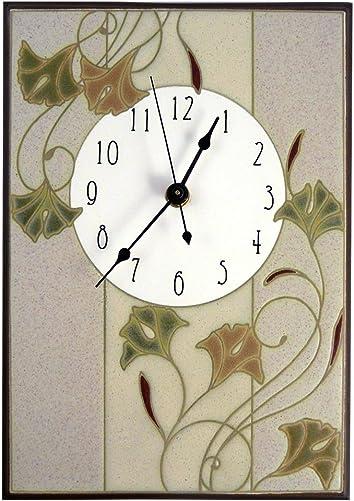 Modern Artisans Nouveau Ginkgo Ceramic Art Wall Clock, 7.5 x 10.5