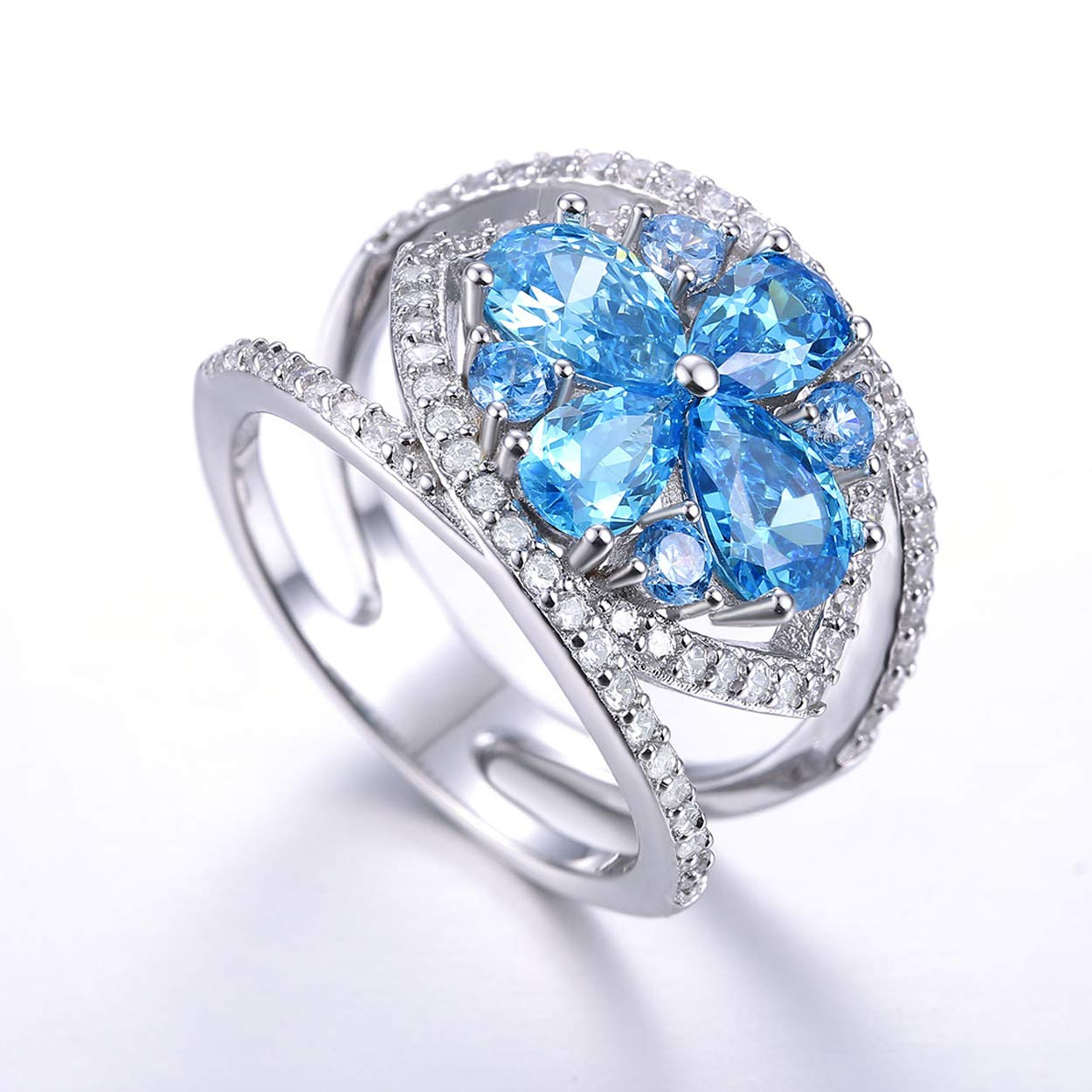 Yeinos Womens Created Blue Topaz Cluster Flower Knuckle Ring 925 Sterling Silver