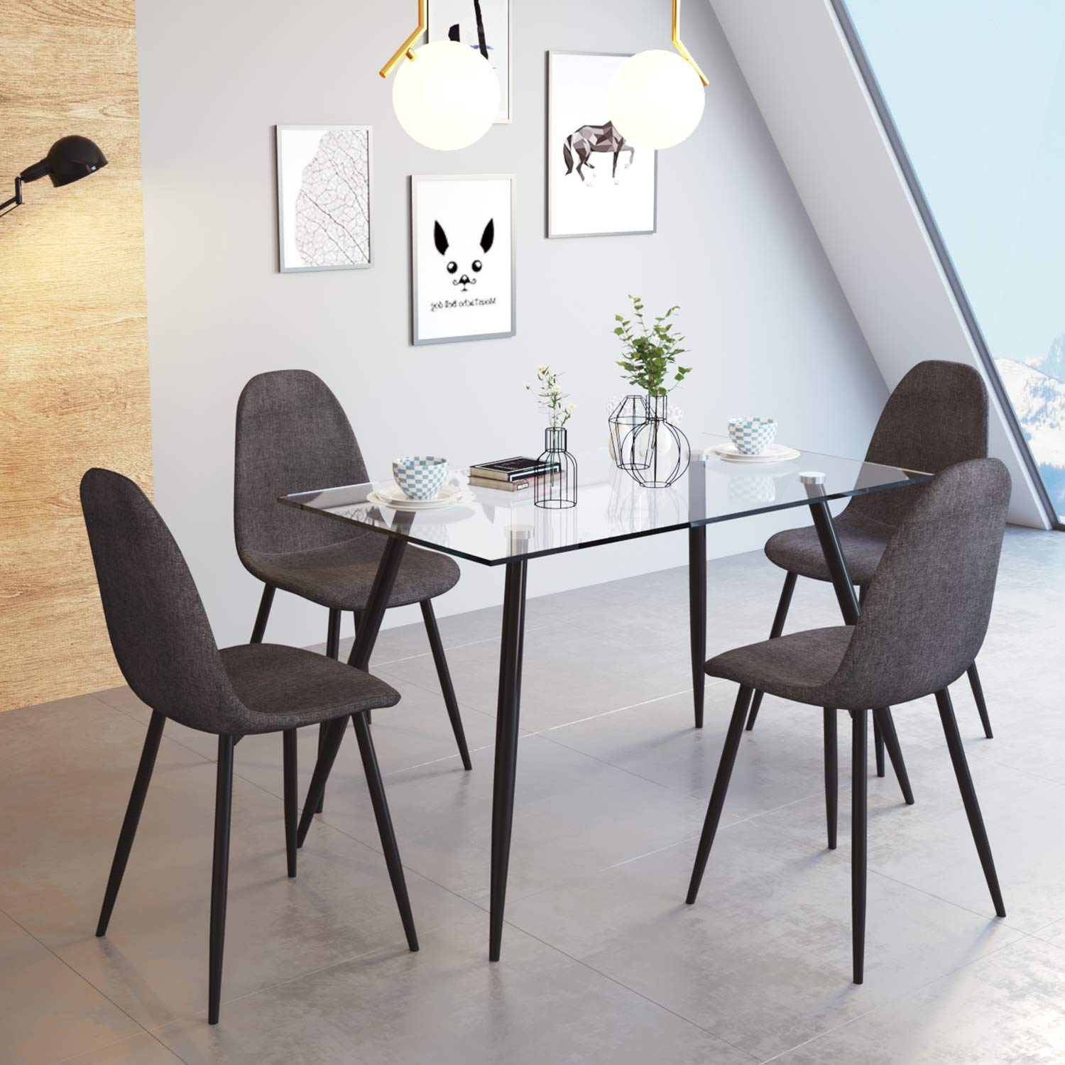 Euco Gray Dining Chair Set Of 4 Retro Dining Chairs With Fabric Upholstered Padded Seat Metal Black Leg Kitchen Dining Room Sitting Room Office Cafe Furniture Set