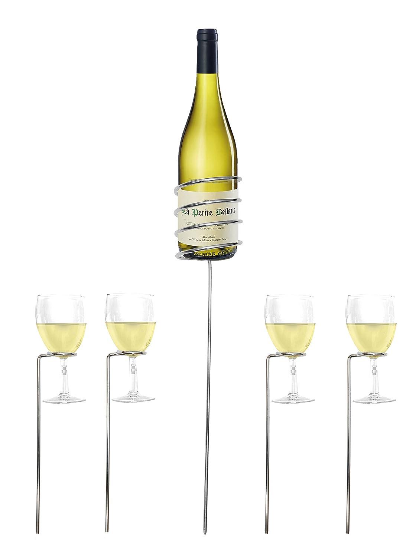 Set di supporti per vino con porta-bottiglia e 4 porta-calici; da esterni, per feste in giardino, campeggio e picnic Allkit