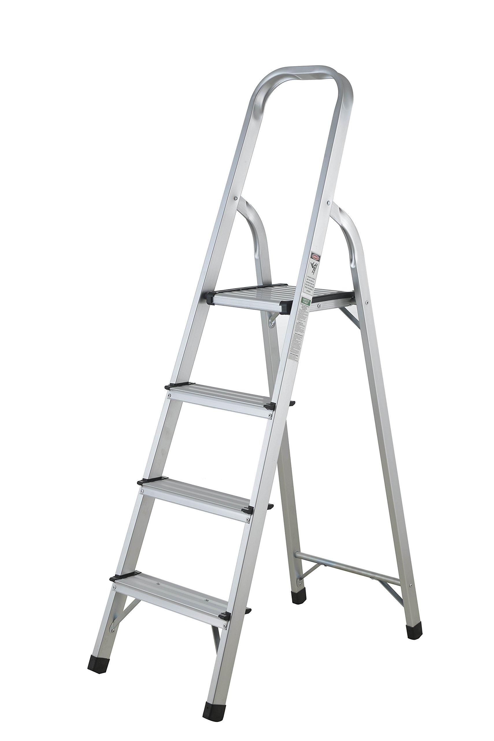 DOMUS 9004 Step Ladder, Silver, Black
