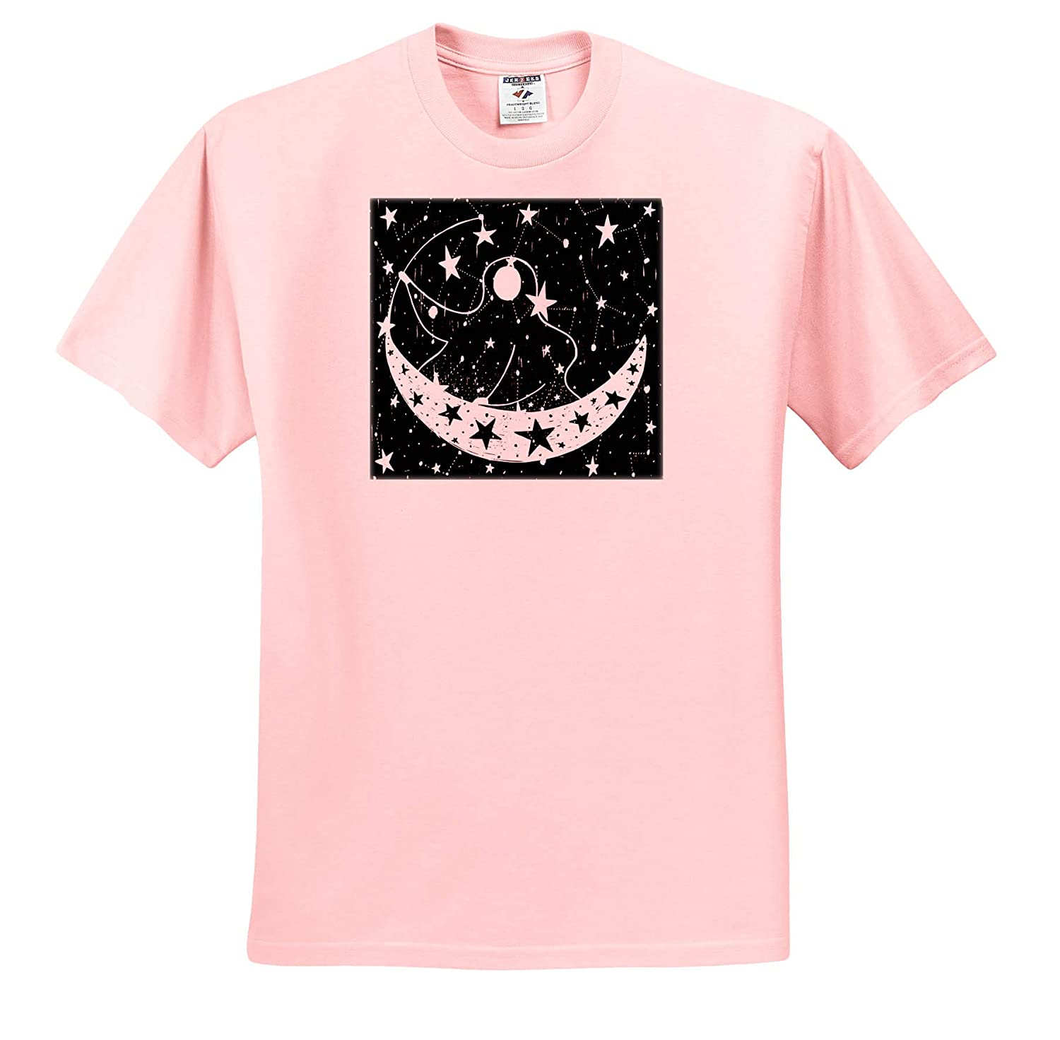 Crescent Moon Starts and The Man in The Moon Art T-Shirts 3dRose Spiritual Awakenings Digital Art